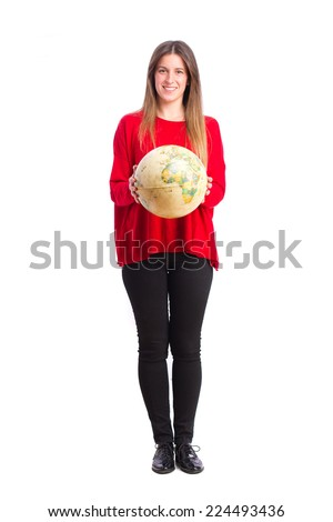 young cool girl with world globe - stock photo