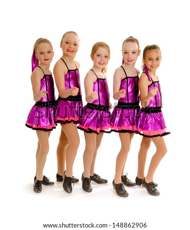 5 Young Girls in Recital Competition Tap Costumes - stock photo