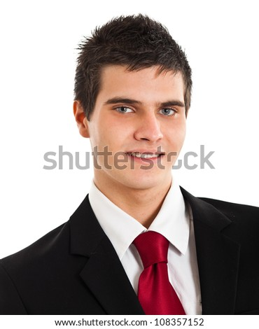 Young handsome businessman with blue eyes isolated on white - stock photo