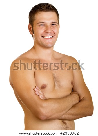 Young happy muscular man isolated on a white background - stock photo