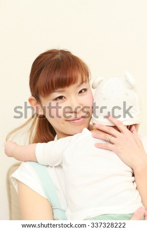 young Japanese mom and her baby