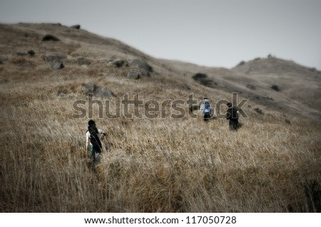 3 young male hikers with backpacks walking up a grassy hill on sunset peak, hong kong in low contrast style