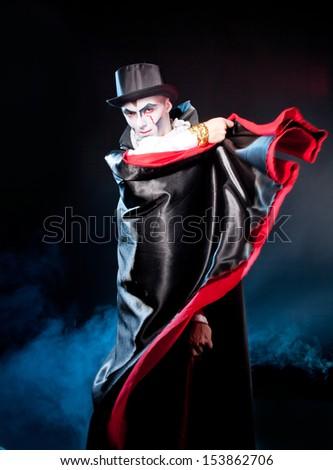 Young man   wearing  as  vampire . Halloween - stock photo