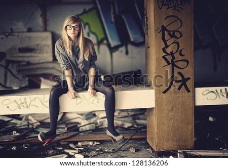 Young pretty girl posing - stock photo