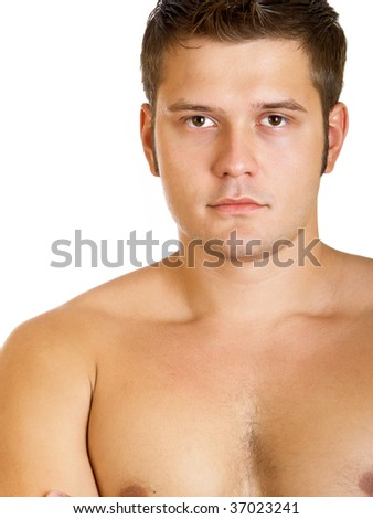Young serious muscular man isolated on a white background - stock photo