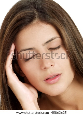 young woman and headache on white background. - stock photo