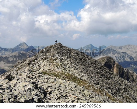 Young Woman High On A Rocky Mountain Peak         - stock photo