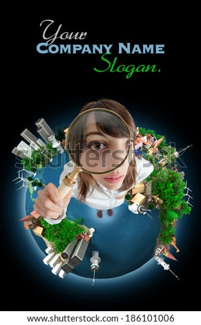 Young woman with a magnifying glass standing on the Earth. The map texture comes from the Nasa free of use images