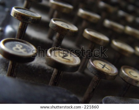 &zx. A dusty of keyboard of a very old typewriter