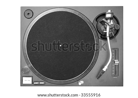 A above view of a DJ turntable. - stock photo