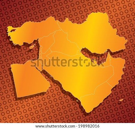 A abstract, stylized, country map of the middle east in orange and yellow - stock photo