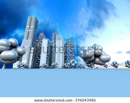A abstract urban city. 3D rendered Illustration. - stock photo