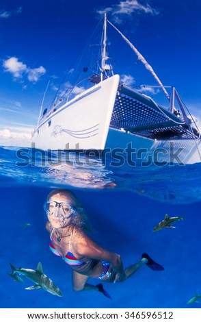 A adventurous woman swimming with sharks in very clear, very blue water - stock photo