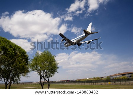 A airplane is ready to land at the airport
