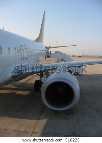 A airplane with its engine - stock photo