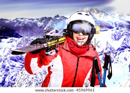 A alpine skier on the piste. Alps in the winter time. - stock photo