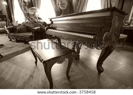A an old piano - stock photo