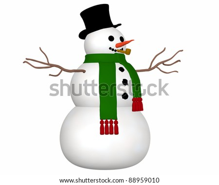 A angled view illustration of a snowman wearing a black top hat and green scarf and a carrot nose.