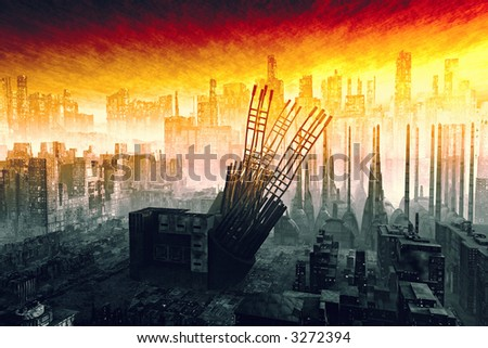 A Armageddon type scene after a war or a natural disaster - stock photo