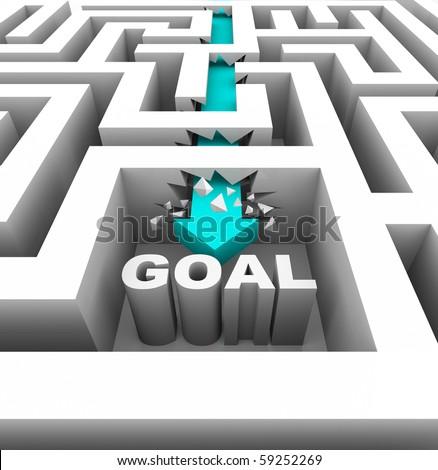 A arrow breaks through walls in a maze to reach a goal - stock photo