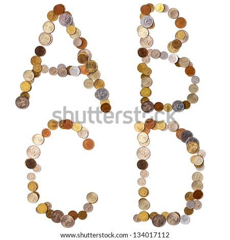 A-B-C-D alphabet letters from the coins of different countries. There are other various symbols and letters in My portfolio - stock photo
