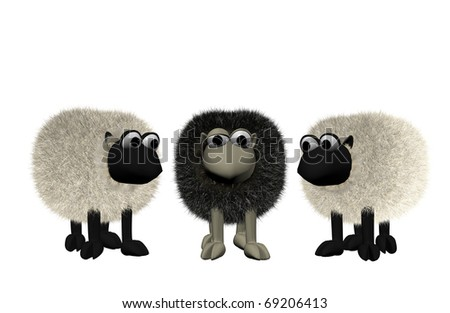 a b3d black sheep between two white sheep - stock photo