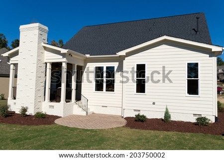 A back view on the residential house - stock photo