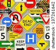 A background depicting various types of road signs. Raster. - stock vector