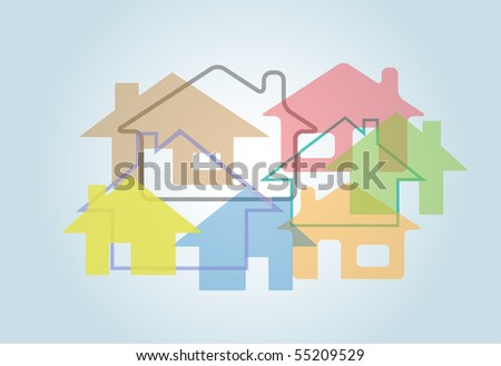 A background design of abstract house shapes in colors on blue background.