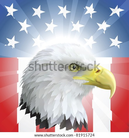 A background featuring American eagle and stars and stripes background - stock photo