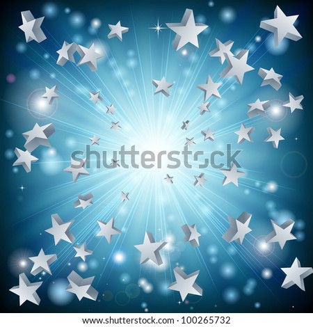A background graphic design with a blue star explosion - stock photo