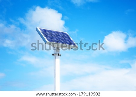 A background image of one solar panel in the blue sky