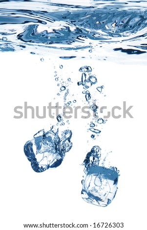 A background of bubbles forming in blue water after ice cubes are dropped into it. - stock photo