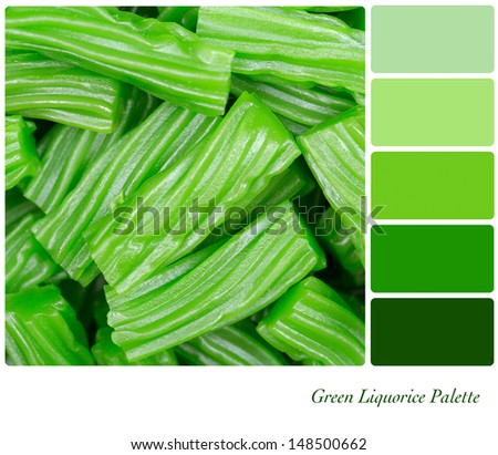 A background of cut pieces of green liquorice in a colour palette with complimentary colour swatches - stock photo