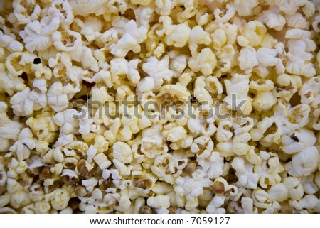 A background of freshly made popcorn