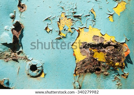 A background of patterns formed from rust spots growing on the door panel of an old light blue truck. - stock photo