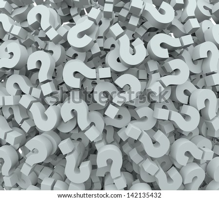 A background of question mark signs and symbols to illustrate learning, education, testing, quizzing, creativity and imagination - stock photo