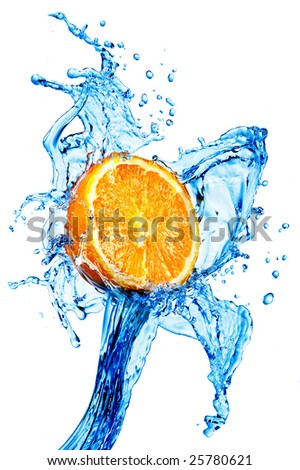 A background of splash forming after orange is dropped into it. - stock photo