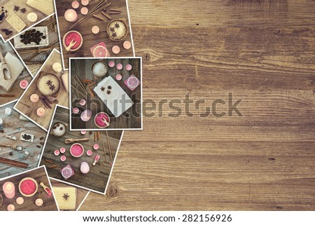 a background with pictures of bath accessories on a wooden board - stock photo