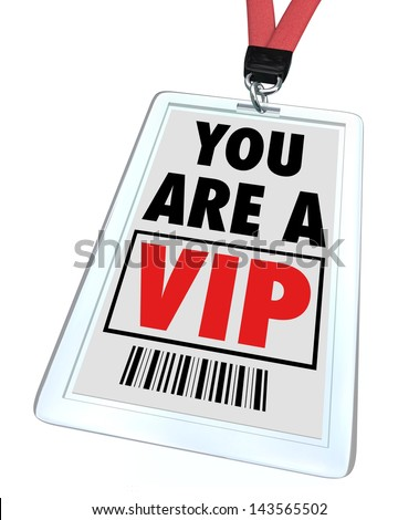 A badge and lanyard with printed pass reading You are a V.I.P. - stock photo