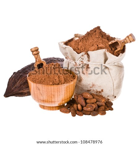 a bag of freshly ground cocoa, cocoa powder wooden spoon and bowl, cocoa beans isolated on white background - stock photo