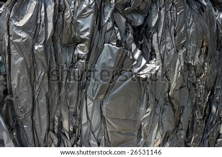 A bale of compressed aluminum sheets - stock photo