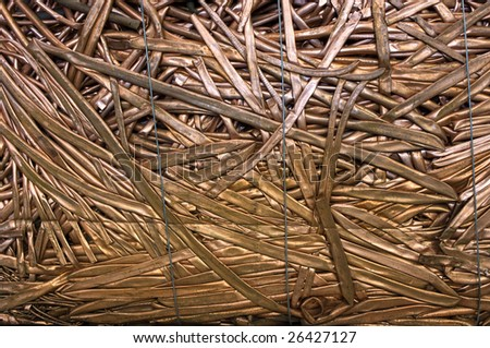 A bale of compressed copper tubes for recycling - stock photo