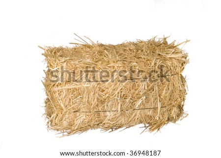 A bale of hay isolated on a white background. - stock photo
