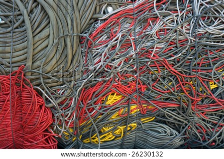 A bale of recycling communication cables. There is a mix of plastic and copper to recover. - stock photo