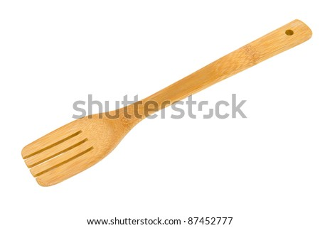 a bamboo cooking shovel, isolated, clipping path - stock photo