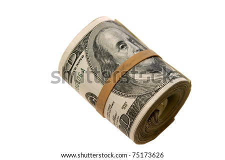 """a """"bank roll"""" of $100.00 bills isolated on white, with room for your text - stock photo"""