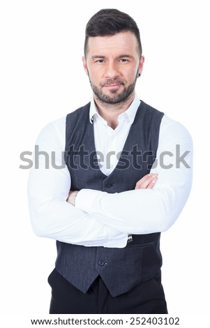 A bar bouncer arm cross over a white background studio - stock photo
