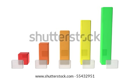 A bar graph with blank boxes for your own text. - stock photo