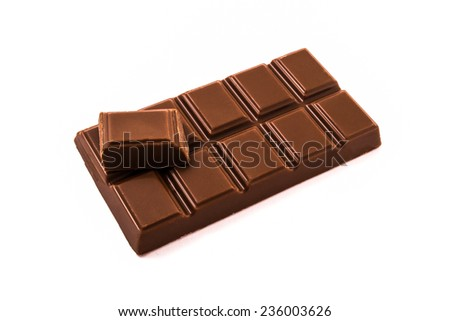 A bar of chocolate with one small piece